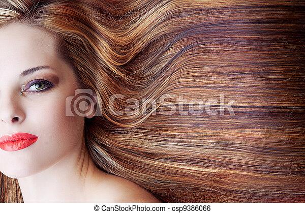vacker, hår, kvinna, länge - csp9386066