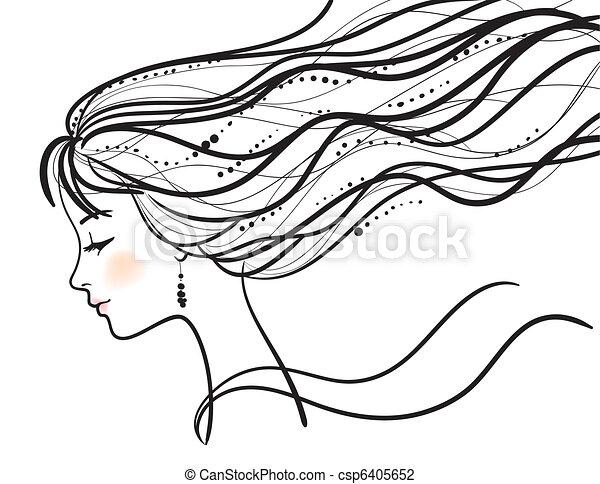 vacker kvinna, silhuett, ansikte - csp6405652