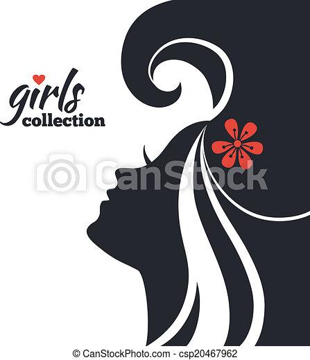vacker kvinna, silhuett, flickor, kollektion, flowers. - csp20467962