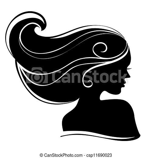 vacker kvinna, silhuett - csp11690023
