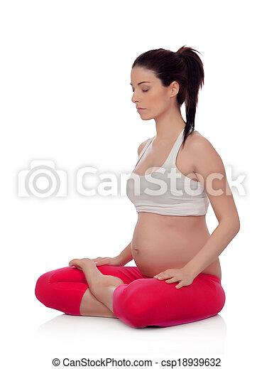vacker kvinna, yoga, gravid - csp18939632