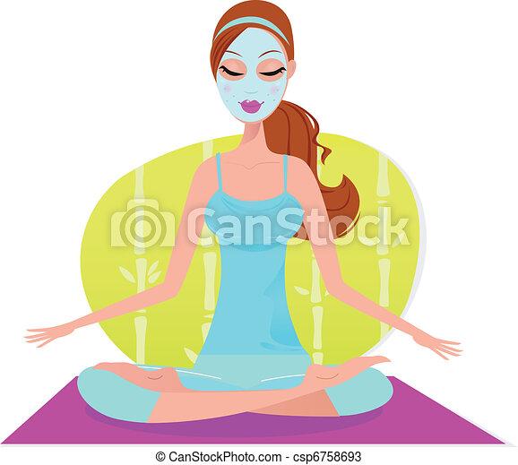 vacker kvinna, yoga matta, sittande, maskera, meditat, ansiktsbehandling - csp6758693