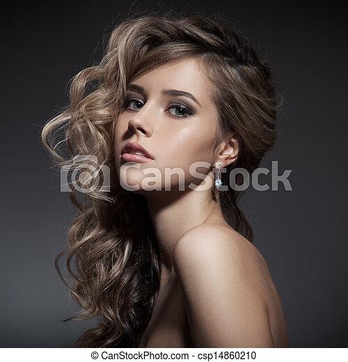 vacker, lockig, långt hår, blond, woman. - csp14860210