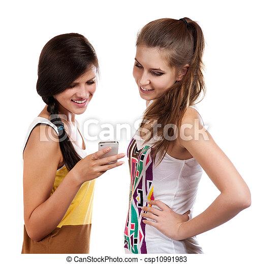 vacker, mobiltelefon, motta, flickor, sms, ung, sända, användande - csp10991983