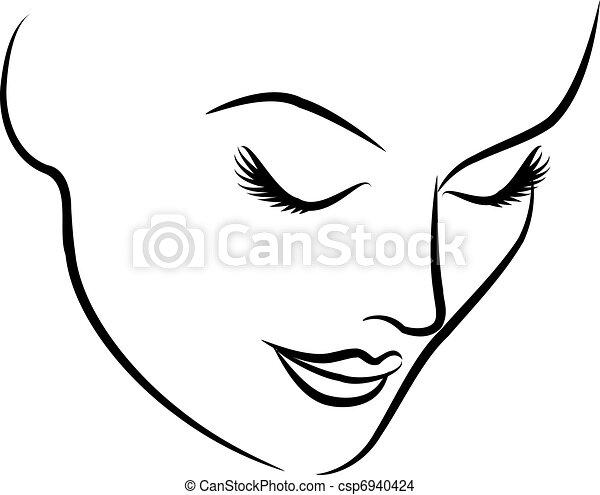 vacker, mode, kvinna, ansikte - csp6940424