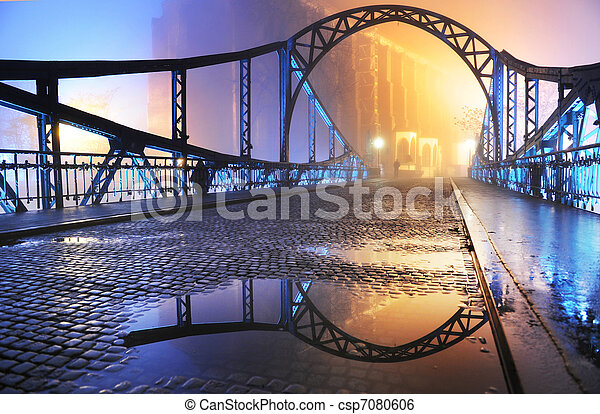 vacker, stad, gammalt överbrygga, natt, synhåll - csp7080606
