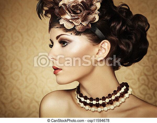 vacker, stil, årgång, retro, stående, woman. - csp11594678