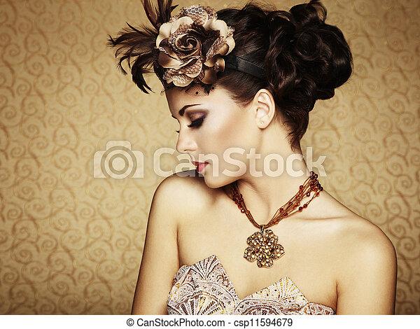 vacker, stil, årgång, retro, stående, woman. - csp11594679