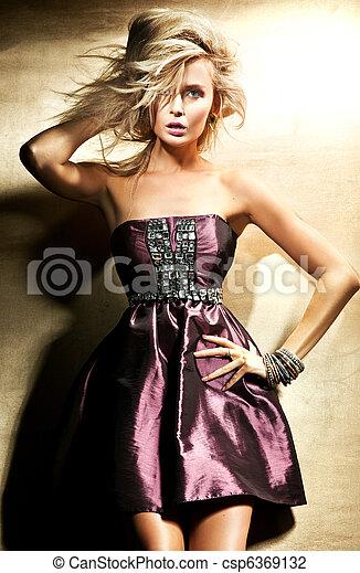 vacker, stil, mode, foto, blond, dam - csp6369132