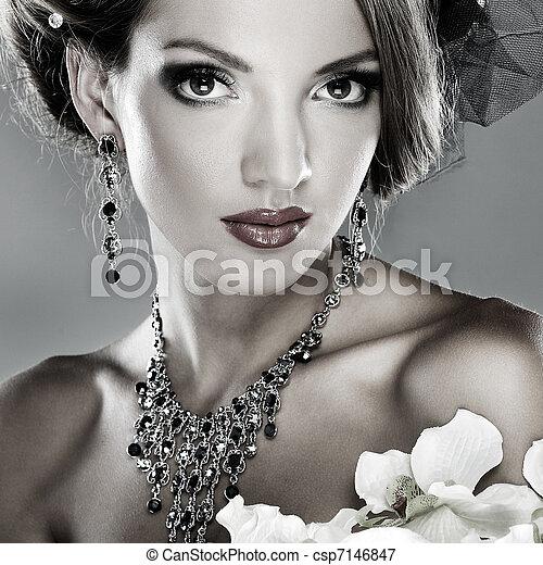 vacker, stil, mode, foto, bröllop, utsmyckningar, flicka - csp7146847