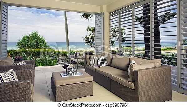 vacker, strand, ocean, följe, synen - csp3907961