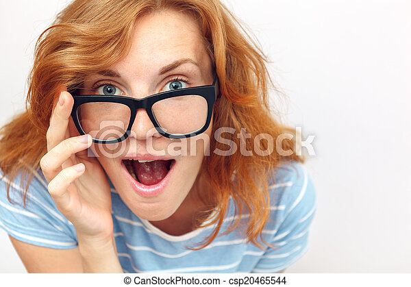 vacker, surprised., kvinna, ung, svart, glasögon - csp20465544