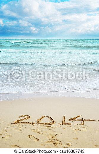 vacker, undertecknar, år, 2014, strand, synhåll - csp16307743