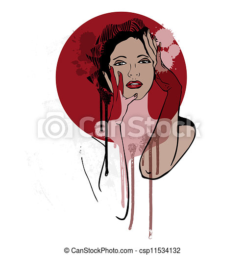 vacker, woman., mode, illustration. - csp11534132