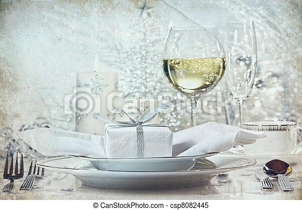 vacsora, ünnepek, beállítás, ezüst, ünnepies - csp8082445