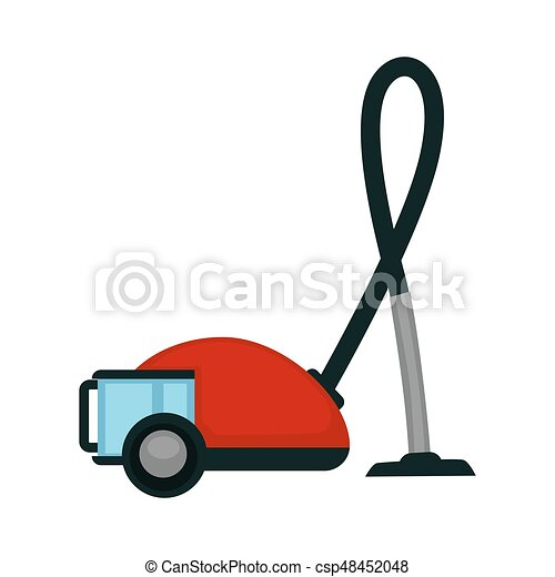Vacuum cleaner in red color isolated on white
