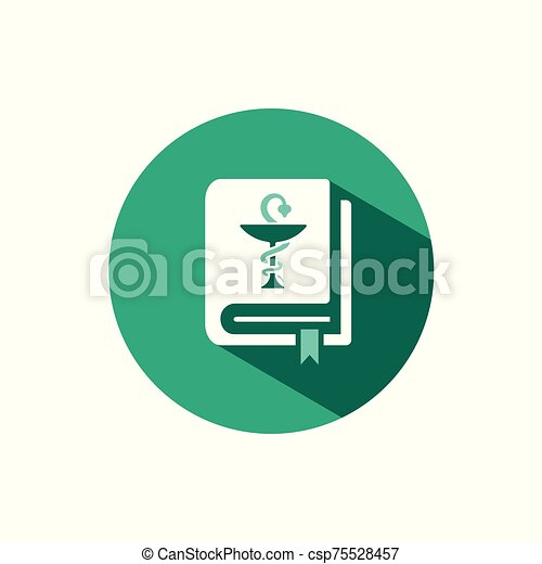 Vademecum icon with shadow on a green circle. Vector pharmacy illustration - csp75528457