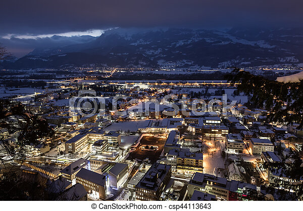 Vaduz Liechtenstein Top View At Night Is The Capital Of And Also Seat National Parliament