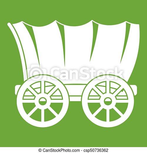 vagão, antiga, verde, ocidental, coberto, ícone - csp50736362