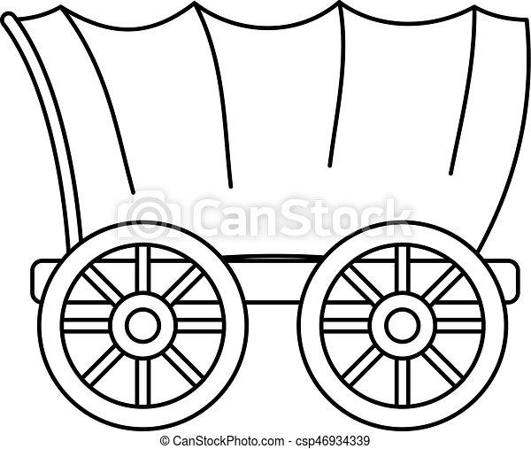 vagão, estilo, antiga, esboço, ocidental, ícone, coberto - csp46934339