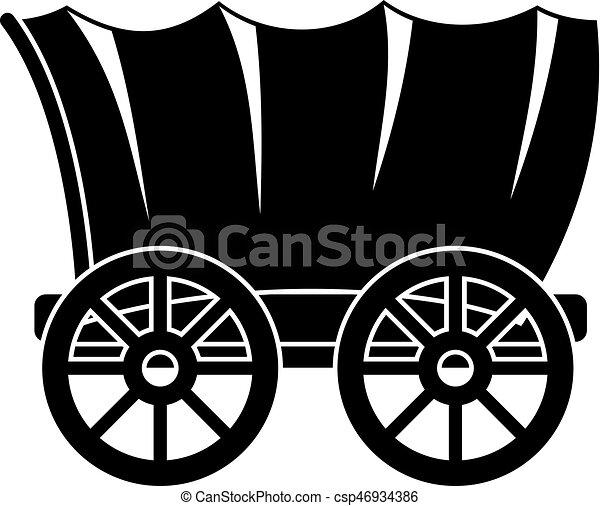 vagão, estilo, antiga, simples, ocidental, ícone, coberto - csp46934386