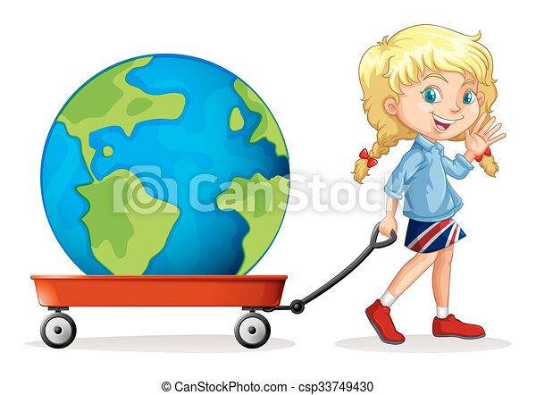vagão, pequeno, globo, aquilo, puxando, menina - csp33749430
