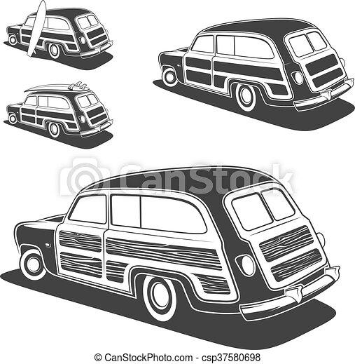 vagão, surfboard, woodie, car, isolado, experiência., vetorial, retro, branca, illustration. - csp37580698