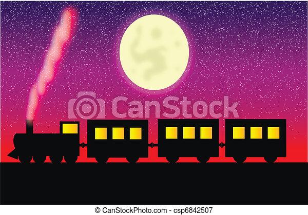 vagões, vapor, locomotiva - csp6842507