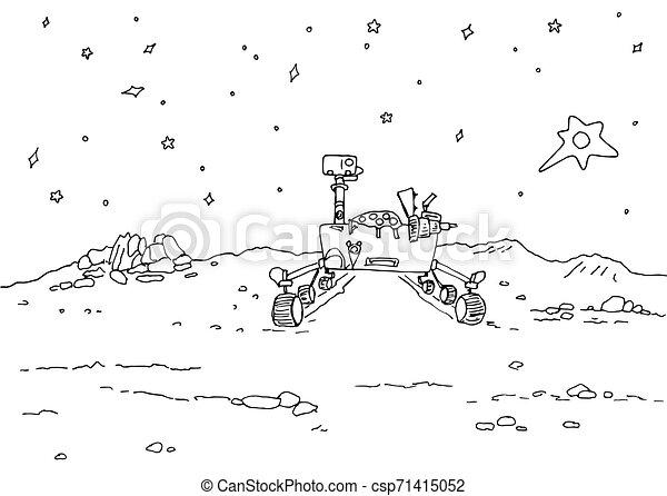 vagabond, espace, colonisation, étoilé, -, illustration, cratères, planète, lointain, mars, rochers, contour, ciel - csp71415052