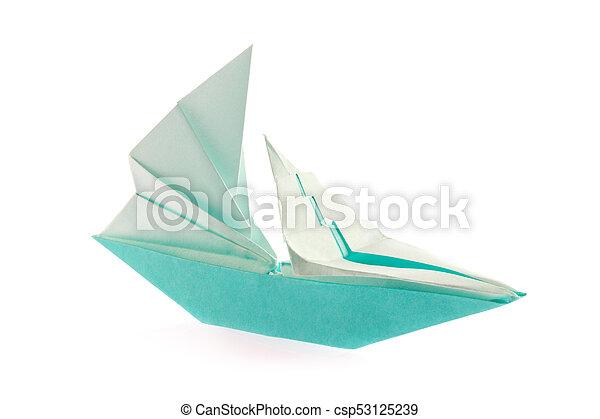 Vaisseau Origami Voile Voile Isole Arriere Plan Vaisseau Blanc Origami Canstock