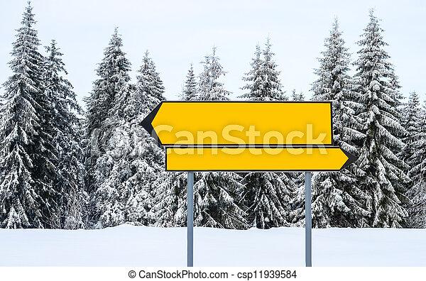 vakantiepark, berg, ski, richting, leeg, tekens & borden - csp11939584