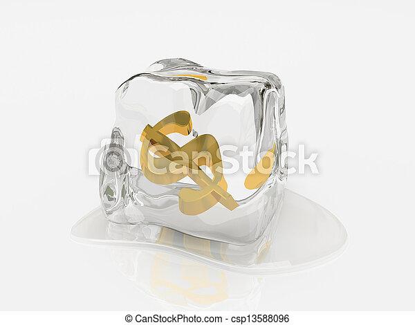 vakolás, köb, dollár, jég, 3 - csp13588096