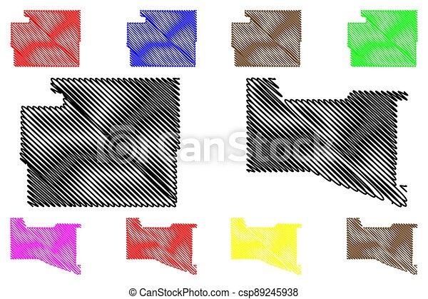 Valencia and Torrance County, New Mexico (U.S. county, United States of America, USA, U.S., US) map vector illustration, scribble sketch map - csp89245938