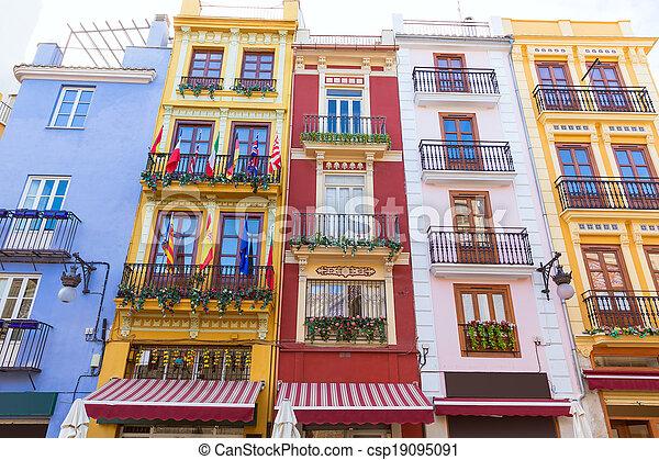 Valencia colorful facades in front Mercado Central at Spain - csp19095091