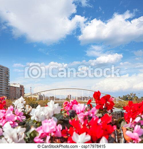 Valencia puente de Exposicion from city flowers bridge - csp17978415