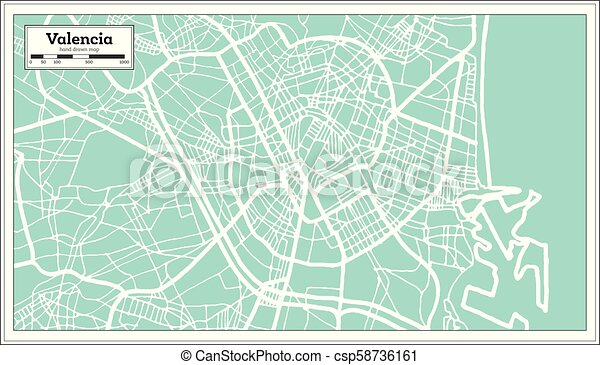 Valencia Spain City Map in Retro Style. Outline Map.