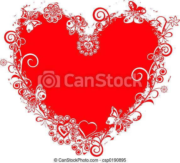 valentinbrev, vektor, grunge, hjärta, ram - csp0190895