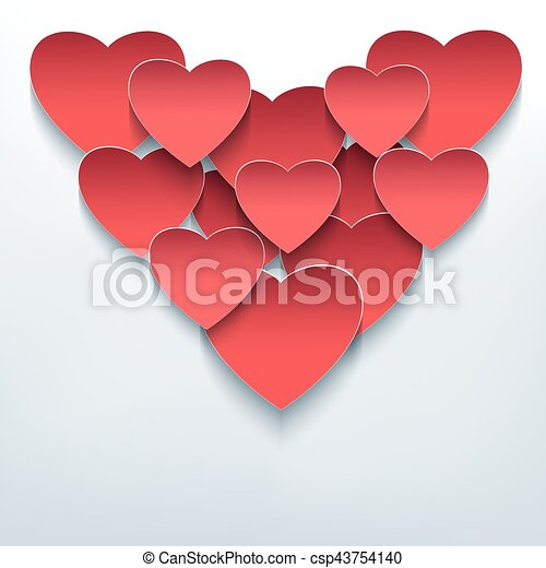 Valentine background with 3d hearts cutting paper - csp43754140