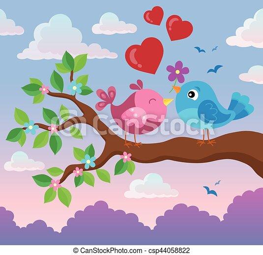 Valentine birds on branch - csp44058822