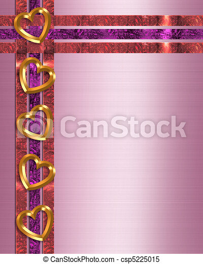 Valentine border gold hearts  - csp5225015