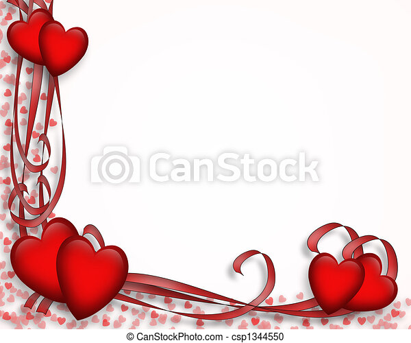 valentine border hearts illustrated red hearts and ribbons for