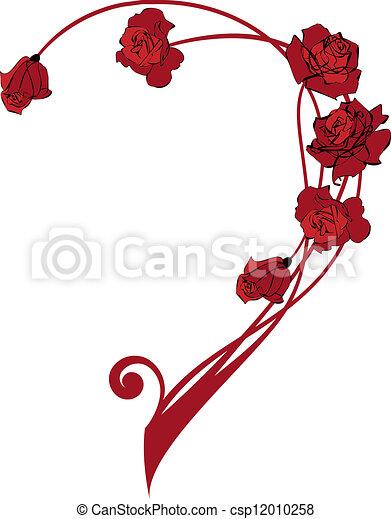 valentine border with roses - csp12010258