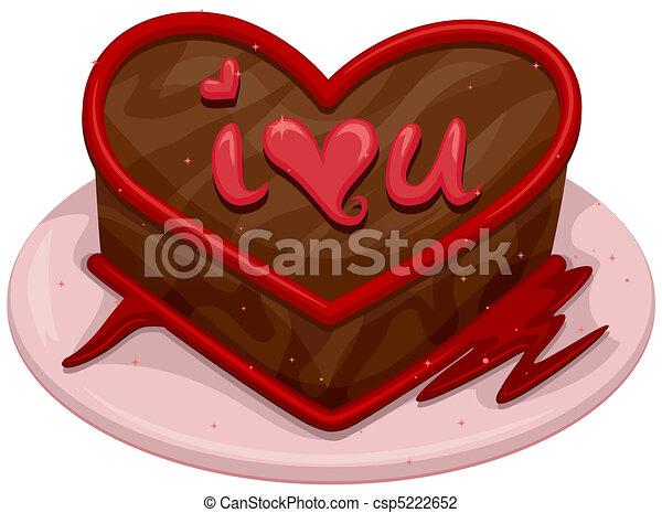 Line Art Valentine : Valentine cake. illustration of a chocolate cake with clip art