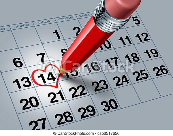Valentine Calendar with Red Pencil - csp8517656
