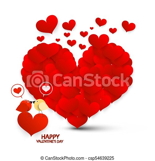 Valentine Card. Valentines Day Symbol with Hearts and Kissing Birds. Vector Valentine's Day Illustration. - csp54639225