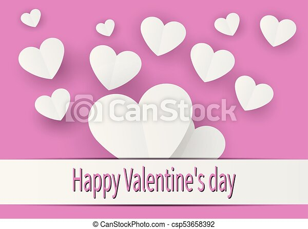 Valentine Card With A Small White Heart On A Pink Background