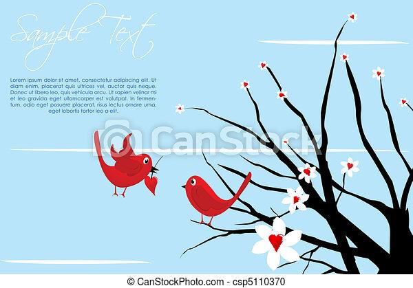 valentine  card with birds - csp5110370