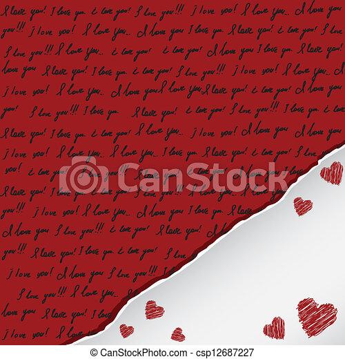 valentine card with handwritten - csp12687227