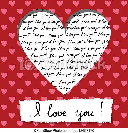 valentine card with handwritten - csp12687170