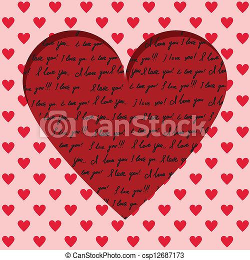 valentine card with handwritten - csp12687173